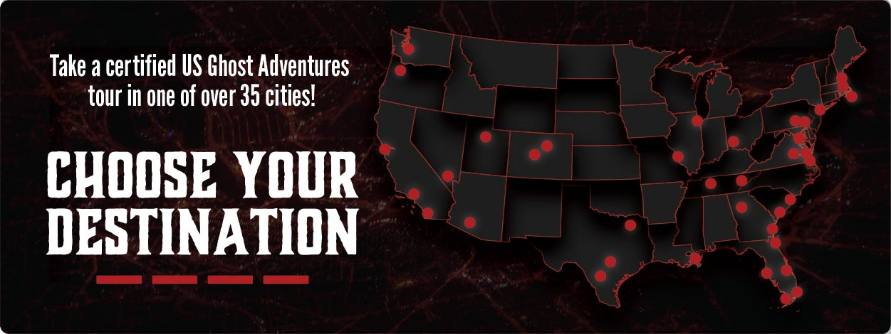 A map of over 35 cities hosting a certified US Ghost Adventures tour.