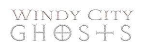 photo is the logo for windy city ghosts which says 'windy city ghosts'