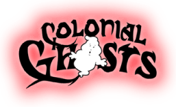 photo shows the colonial ghosts logo which reads 'colonial ghosts'